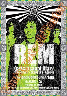 380 - REM - Michael Stipe - Oakland, us - 1 october 1986  - artistic concert poster