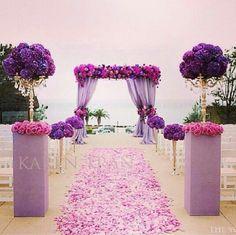 Beautiful wedding pink and purple flower petal decorations