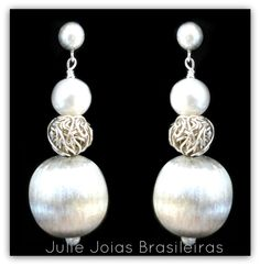 Brincos em prata 950 e pérola (950 silver earrings with pearl)