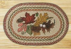 Autumn Leaves Oval Braided Jute Placemat