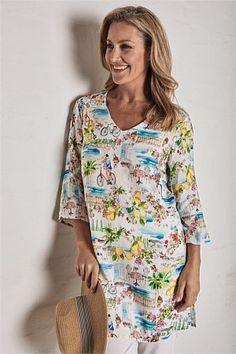 Shop Women's Tops Online   Blue Illusion Tunics Online, Tops Online, Frill Shirt, Boat Neck Tops, Travel Wardrobe, Blouse Styles, Printed Blouse, Illusion, Shirt Style