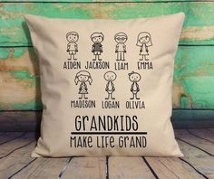 Looking for the perfect gift for grandma? This adorable pillow will look perfect on you couch, bed, or bench! Made of soft, natural colored canvas (not white, more of an off white....color in main picture may differ on screen) and black vinyl print, this pillow will be the talk of your guests as a Grandma Gifts, Mom Gifts, Kids Pillows, Boho Pillows, Throw Pillows, Outdoor Pillow Covers, 20x20 Pillow Covers, Personalized Pillows, Custom Stuff