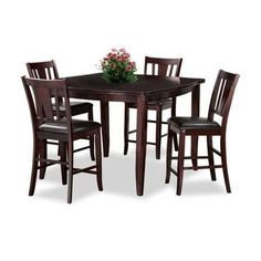stylish Indigo 5 Piece Counter Height Pub Set by Condor Manufacturing. Lavish brown top finish with an updated traditional look brings a warm and inviting atmosphere.