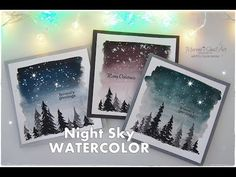 Night Sky Watercolor Winter Christmas Cards for Beginners ♡ Maremi's Small Art ♡ Homemade Christmas Cards, Christmas Tree Cards, Xmas Cards, Diy Christmas Gifts, Christmas Art, Winter Christmas, Handmade Christmas, Holiday Cards, Christmas Island