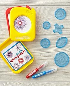 "Now you can create countless amazing designs on-the-go with the classic Travel Spirograph! This portable Spirograph has a built-in design ring, work surface and storage compartment for holding your wheels, pens, paper, design guide and finished artwork. The Travel Spirograph is the perfect ""go anywhere"" travel toy!"