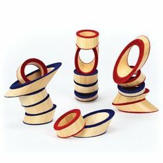 Hape Totter Tower Bamboo Stacking Game Hape-The intelligent design of this product uses bamboo rings to form very unique building blocks. The distinct angle of the bamboo creates endless possibilities for building exciting shapes and structures. It is a fantastic game to help children gain a sense of geometry,spatial awareness as well as improving hand-eye coordination.