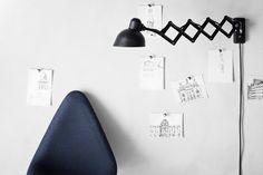Drop by Arne Jacobsen.  KAISER idell scissor lamp by Christian Dell.