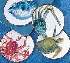 Why did I go into PB?  These plates are beautiful in person and come in a fisherman's rope...best part, they are made of melamine, so they look like pottery but are plastic so they are for outside entertaining.  Playa Sea Life Melamine Salad Plates, Mixed Set of 4 #potterybarn