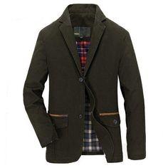 Men's Business Casual Cotton Buttons Jacket Coats at Banggood