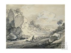 A Shepherd and His Flock, 1775 Giclee Print by Thomas Gainsborough at Art.com