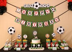 Sport Soccer party dessert table