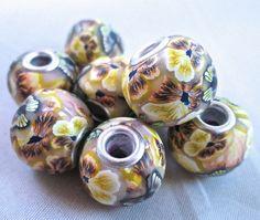 Sunshine Pansy Grommet Beads