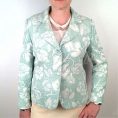 Seafoam Green & White Brocade Blazer