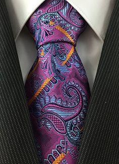 Mens Tie Paisley and Stripe Fusion Series 100% Silk Designer Neckties Various Colors
