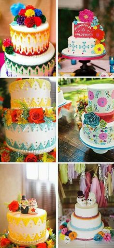 Mexican Wedding Cakes Can I make one for a party instead? Mexican Birthday, Mexican Party, Mexican Cakes, Mexican Style, Pretty Cakes, Beautiful Cakes, Mexican Wedding Favors, Cupcakes, Cupcake Cakes