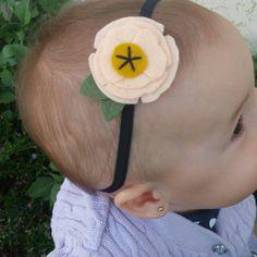 Poppy felt flower headband in peach  www.etsy.com/listing/245333605/poppy-felt-flower-headband-in-peach-and
