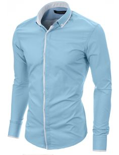 Men's slim fit long sleeve button down dress shirt sky 2018 Mens Casual, Men Casual, Stylish Shirts, Casual Shirts For Men, African Men Fashion, Mens Fashion, Designer Suits For Men, Formal Looks, Pullover
