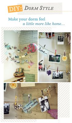 DIY: Dorm Style. Hang a mix of fun photos with photos of friends and family. Re-pinned by StudyUSA http://studyusa.com