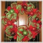 Beautiful Deco Mesh Wreath for Christmas. $35 as shown.