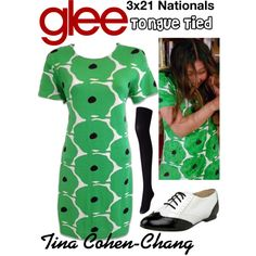 Tina Cohen-Chang (Glee) : Tongue Tied by aure26 on Polyvore featuring polyvore, fashion, style, Uniqlo, clothing and glee