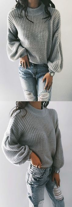 $35.99! Chicnico Retro Knit Bishop Solid Color Loose Sweater Get ready for Fall fashion! Find fashionable outfits for the new season.