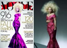 Gaga's extreme photoshop for Vouge. || Not much left of the original picture.  Should've just had someone do a drawing.  Geez.