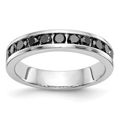 This beautiful carat black diamond band in white gold from Apples of Gold Jewelry takes your traditional diamond band and adds the special touch of black diamonds to create a truly unique look. Black Diamond Bands, Diamond Stone, Gold Bands, Diamond Wedding Bands, Diamond Rings, Photo Jewelry, Fashion Rings, White Gold, Stone Weight
