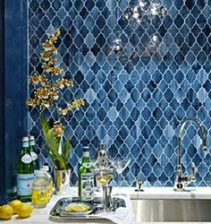 Waterworks Morroccan inspired Aladdin tile backsplash