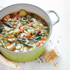 Spring Vegetable Soup | MyRecipes Use vegetable stock instead of chicken stock to make this a vegetarian dish.