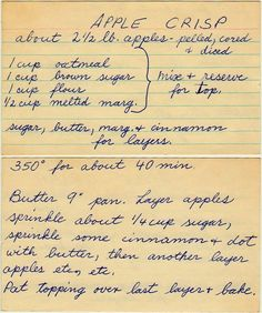 - I love these hand written recipe cards! I love these hand written recipe cards! I love these hand written recipe cards! I love these hand written recipe cards! Retro Recipes, Old Recipes, Vintage Recipes, Fruit Recipes, Sweet Recipes, Cake Recipes, Dessert Recipes, Cooking Recipes, Recipies