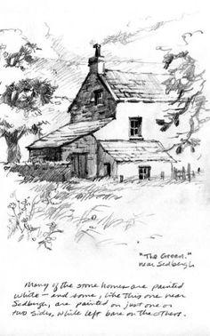 Pencil sketchbook drawing of farm near Sedbergh
