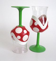 Piranha Plant Wine Glasses Hand Painted Mario by BasementInvaders