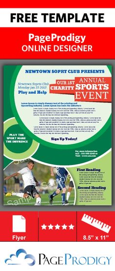 Borderless Sports Charity Flyer for any sports event. 100% customizable. Use for other events, promotions, and activities.  Cool circle theme makes this attractive and eye-catching. Try this Free Template now using the PageProdigy Cloud Designer: www.pageprodigy.com/design?template=269&size=2550x3300&theme=Sporty&source=pinterest