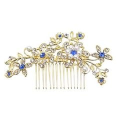 Remedios Luxury Hair Comb with Royal Blue Rhinestones and Pearls Wedding Bridal Hair Accessory, Gold and Royal Blue