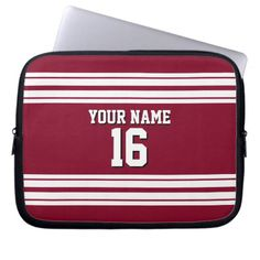 Burgundy White Team Jersey Custom Number Name Laptop Sleeve