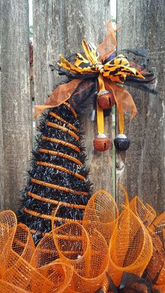 Halloween Mesh Wreaths, Halloween Crafts, Hanger Crafts, Wire Wreath Forms, Witch Hats, Paper Cones, Tree Crafts, Holidays And Events, Door Wreaths
