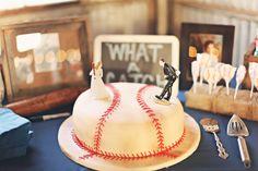 Baseball groom's cake. Photo by Brandi Smyth Photography. ww.wedsociety.com #wedding #groomscake #cake #baseball