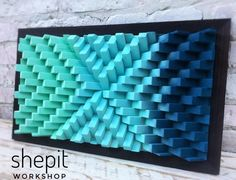 If these were foam they would make awesome sound panels Wood Wall Art - Gradient Wall Art - Turquoise Blue Wood - Modern Abstract Wood Art - Large Wall Art 3d Wall Art, Wooden Wall Art, Wooden Walls, Large Wall Art, Wood Art, Wall Wood, Art 3d, Blue Wood, Grey Wood