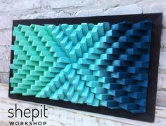 Wood Wall Art - Gradient Wall Art - Turquoise Blue Wood - Modern Abstract Wood Art - Large Wall Art