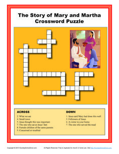 Children's Bible Story Crossword Puzzle - The Story of Mary and Martha Bible Story Crafts, Bible Stories For Kids, Bible Crafts For Kids, Jesus Stories, Kids Bible, Object Lessons, Bible Lessons, Lessons For Kids, Bible Activities