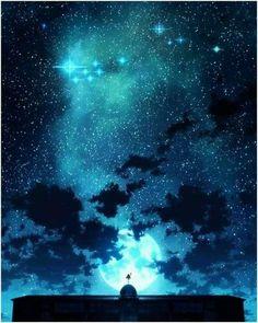grafika stars, anime, and sky Art Anime, Anime Artwork, Manga Art, Fantasy World, Fantasy Art, Main Manga, Cool Pictures, Beautiful Pictures, Beautiful Sky