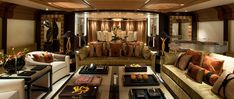 Motor yacht Sea Rhapsody, Amels 212 Superyacht, interior images, Main Saloon, Andrew Winch Designs