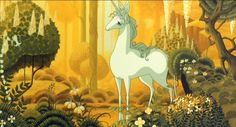 The Last Unicorn - I love the background art! #background_art #unicorns #animation