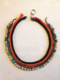 #DIY Lizzie Fortunato inspired Collar - Stripes & Sequins