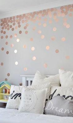 Feature Wall Bedroom, Girl Bedroom Walls, Bedroom Murals, Bedroom Colors, Girl Room, Bedroom Decor, Rose Gold Bedroom Wallpaper, Teen Room Designs, Teenage Room