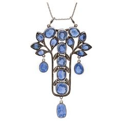 Antique Arts and Crafts Sapphire 'Tree of Life' Pendant   From a unique collection of vintage drop necklaces, Circa 1900, United Kingdom.