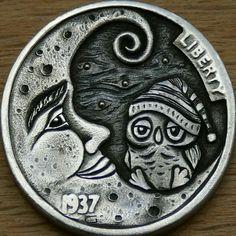 Original hobo nickel time to sleep hand engraved 1937 buffalo coin owl moon art Owl Moon, Hobo Nickel, Moon Art, Hand Engraving, Buffalo, Coins, Sleep, Rooms, Water Buffalo