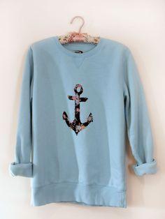 Floral Print Anchor Crewneck Sweatshirt. $22.00, via Etsy. want want want