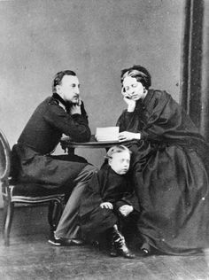 "Grand Duke Nikolai Nikolaevich Romanov of Russia with his wife Grand Duchess Alexandra Petrovna Romanova of Russia and son Grand Duke Nikolai Nikolaevich Romanov  (the Younger). ""AL"""