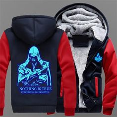 2018 Winter Fashion Luminous Pattern Assassin Creed Hoodie Zipper Sweatshirt Ticken Cool Hoodies Men Women USA EU Size